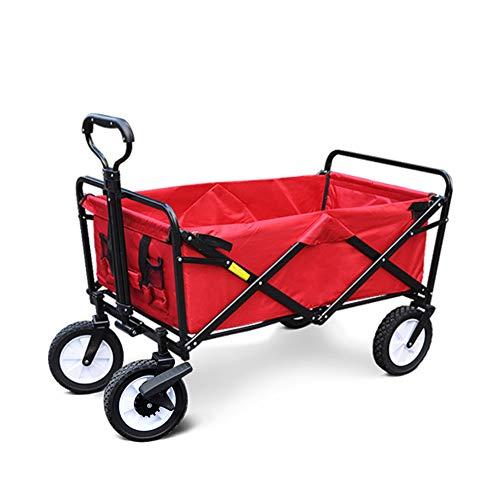 MYHZH Zusammenklappbar Folding Stahlrahmen im Freien Garten-Camping Wagon, Multifunktionseinkaufswagen, rot