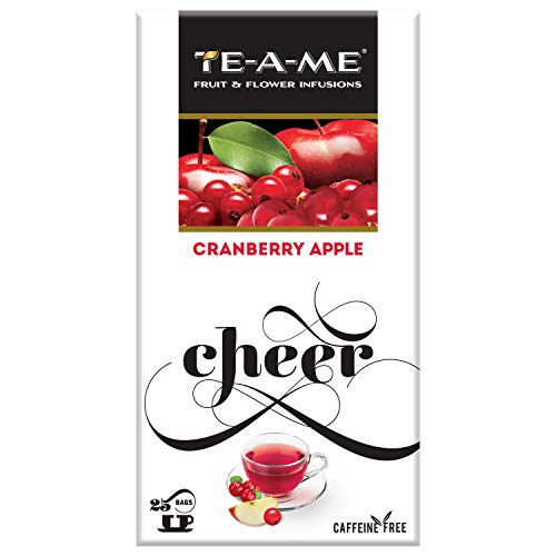 TE-A-ME Cranberry Apple Infusion, 25 Tea Bags (2 Flavored Bags Free)