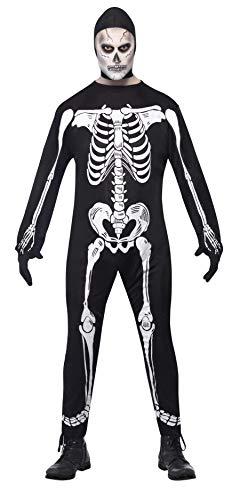 """Smiffys-23032L Halloween Disfraz de Esqueleto de Cuerpo Entero, con Capucha y Guantes, Color Negro, L-Tamaño 42""""-44"""" (Smiffy"""