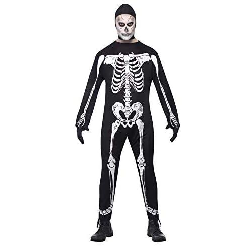 Costume da scheletro tutona nera con ossa travestimento horror taglia L
