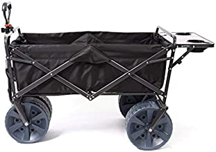 Mac Sports Heavy Duty Collapsible Folding All Terrain Utility Wagon Beach Cart Attached Mini Table - Black