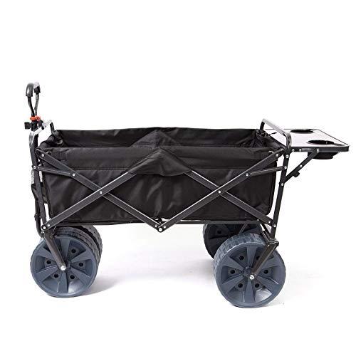 Mac Sports Heavy Duty Collapsible Folding All Terrain Utility Wagon Beach Cart Attached Mini Table -...
