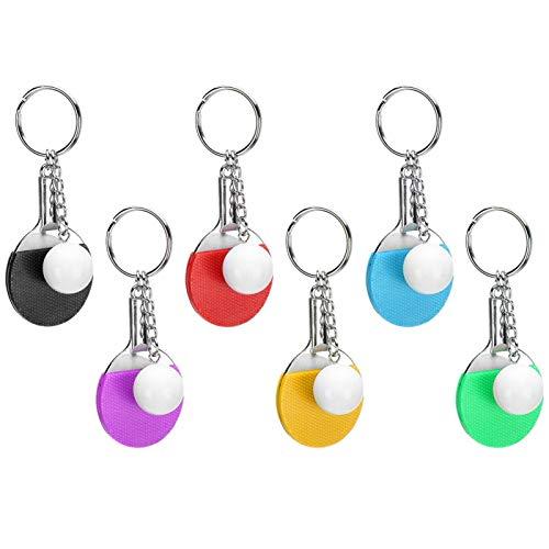 Mini llaveros de tenis de mesa para mujeres, novias, dije de bolso, llavero de decoración colgante para llaves de coche, regalo para amigos, llavero de llavero para bolso (6 piezas)