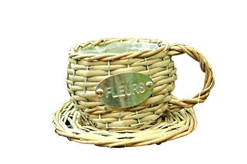 Plante Récipient/Pot de fleurs décoratif fait main Tasse à café/Panier/14 x 12 cm