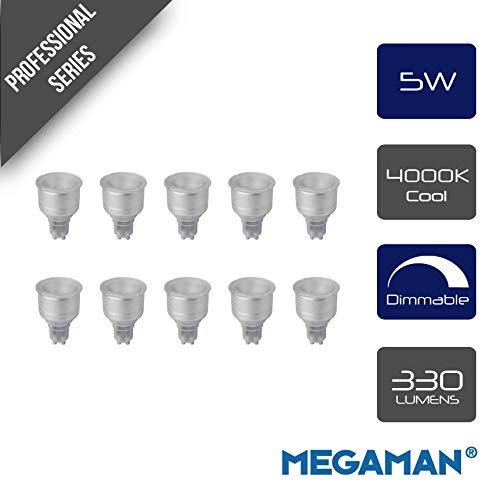 Pack of 10 x Megaman 141580 LED Long Neck Reflector Light Bulbs GU10 PAR16 5 Watt 4000K Cool White Dimmable - 5 Watt