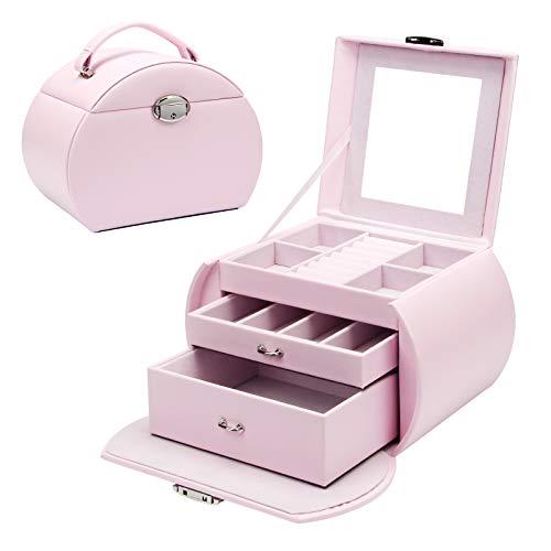 Yorbay Schmuckkästchen mit 3 Ebenen, abschließbar mit Spiegel, Seelux Serie Schmuckkasten für Halsketten, Armbanduhren, Ringe, Armbänder, Ohrringe, Pink (Mehrweg)