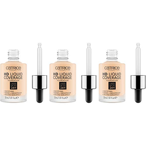 Catrice HD Liquid Coverage Foundation, Make Up, Nr. 002 Porcelain Beige, nude, langanhaltend, Anti-Glanz, mattierend, weichzeichnend, matt, vegan, ölfrei, ohne Alkohol, 3er Pack (3 x 30ml)