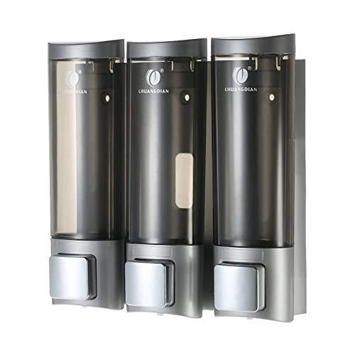 Blusea CHUANGDIAN 3 * 200ml Seifenspender Manuelle 3 Kammern Wand Flüssigseifenspender mit Doppelseitigem Schaumklebeband