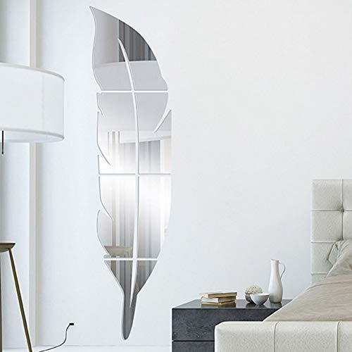 Pegatinas de espejo de pared de acrílico, 3D en forma de plumas, autoadhesivas, para decoración de la pared, para el hogar, sala de estar, dormitorio, baño (grande-30 x 120 cm, plateado)