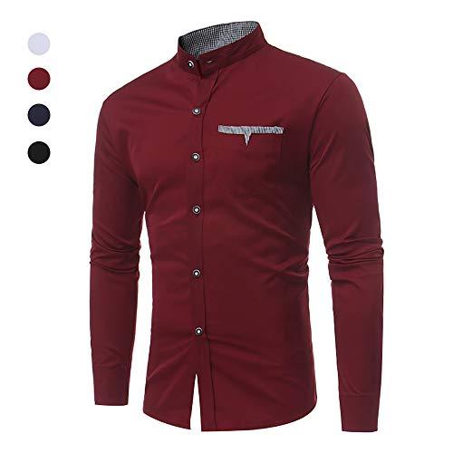 X&Armanis Einfarbiges Hemd für Herren, Hemdtasche aus Baumwollgemisch Kariertes Hemd mit Kontrastkragen,3,XL