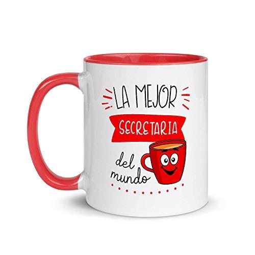 Kembilove Taza de Desayuno de la Mejor Secretaria del Mundo – Tazas de Café para Profesionales y Trabajadores para la Oficina – Tazas de Té de Color de Profesiones – Taza de Cerámica de 350 ml