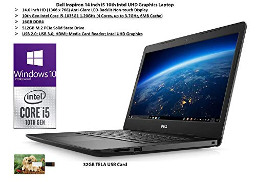 2020 Newest Dell Inspiron 14 inch Laptop, 10th Gen Intel Core i5-1035G1, 16GB RAM, 512GB SSD, HDMI, WiFi, Intel UHD Graphics, Bluetooth, Win 10 Pro | 32GB Tela USB Card