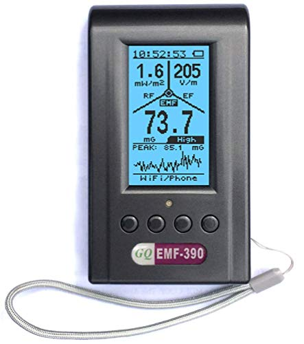 EMF Meter, Advanced GQ EMF-390 Multi-Field Electromagnetic Radiation 3-in-1 EMF ELF RF meter, Cell Tower Smart meter Wifi Signal Detector RF up to 10GHz with Data Logger, with 2.5Ghz Spectrum Analyzer