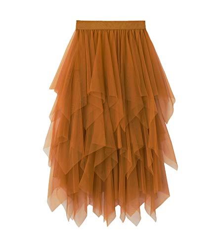 Damen Tüllrock Elastische Taille Unterrock Ballettrock Faltenrock Maxirock Sheer Tutu Tüll Rock (Gelb Knielänge, Knielänge Rock Einheitsgröße)