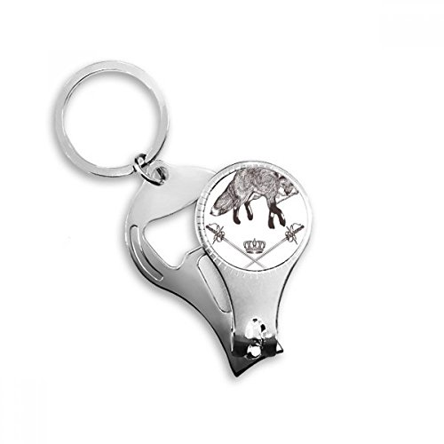 Fox Sword Crown Animal Black White Baroque Style Metal Key Chain Ring Multi-function Nail Clippers Bottle Opener Car Keychain Best Charm Gift
