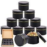 Metalldosen, 12 Stück, 113,4 ml, runde Kerzengläser, Schraubdeckel, Metalldosen, leere Behälter für Kerzen, DIY, Handwerk, Schmuck, Kosmetik Schwarz
