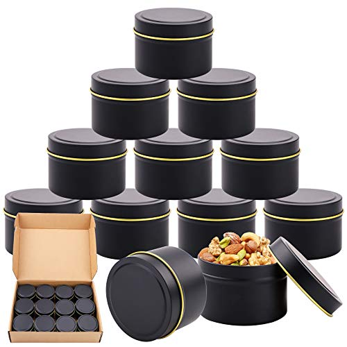 Metal Tins, 12 Pieces 4 oz Round Candle Jar, Screw Lid Metal Storage Tins Jars, Empty Containers for Candles, DIY, Craft, Jewelry Storage, Cosmetic Black