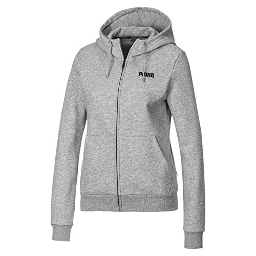 PUMA Essentials Damen Fleece Sweatjacke mit Kapuze Light Gray Heather L
