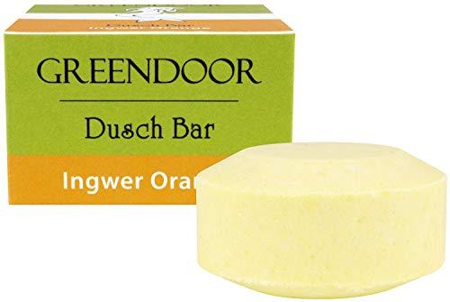 Greendoor Dusch Bar Ingwer Orange 75g, ca 25 Duschen, festes Duschgel, Natur Solid Bar mit Bio Sheabutter, hautmild, ohne Palmöl Sulfate Plastik, Naturkosmetik natürlich ohne Tierversuche, Dusch-Seife