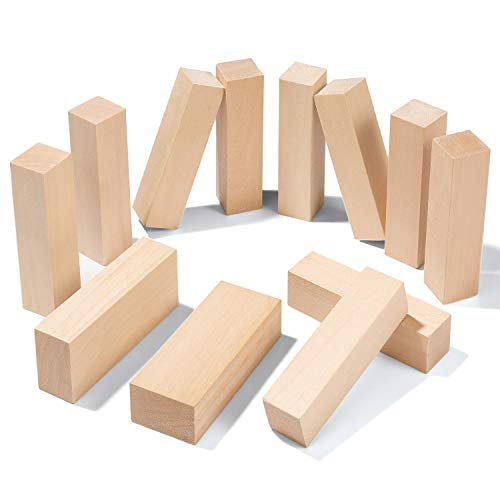 12 PCS Basswood Carving Blocks,Best Value Premium Smooth Unfinished Wood Blocks,Wood Carving Kit, Suitable for Beginner to Expert Carvers and Whittling.