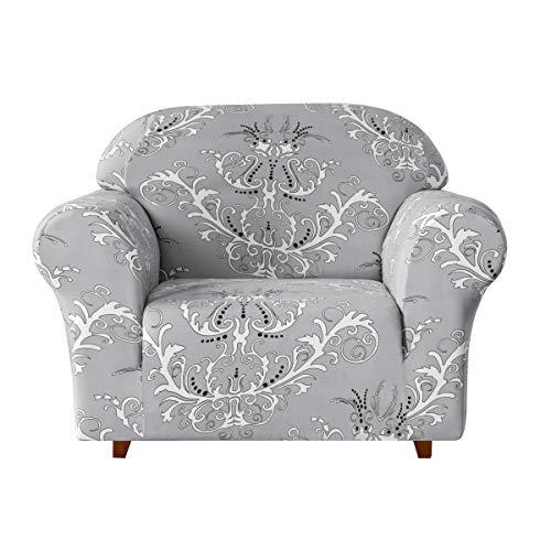 subrtex Sofabezug mit Muster Blumen Stretch Sofahusse Elastisch Sesselhusse mit Armlehne Couch überzug Abwaschbar (1 Sitzer, Grau)