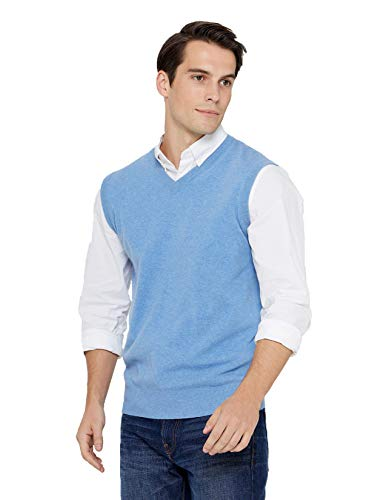 State Cashmere Men's Classic Sleeveless Sweater Vest 100% Pure Cashmere V-Neck Style Pullover (Large, Baby Blue)