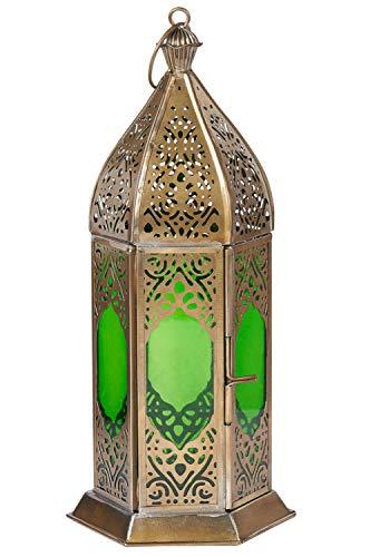 Orientalische Laterne aus Metall & Glas Basma Grün 24cm | orientalisches Windlicht | Marokkanische Glaslaterne für innen | Marokkanisches Gartenwindlicht für draußen als Gartenlaterne