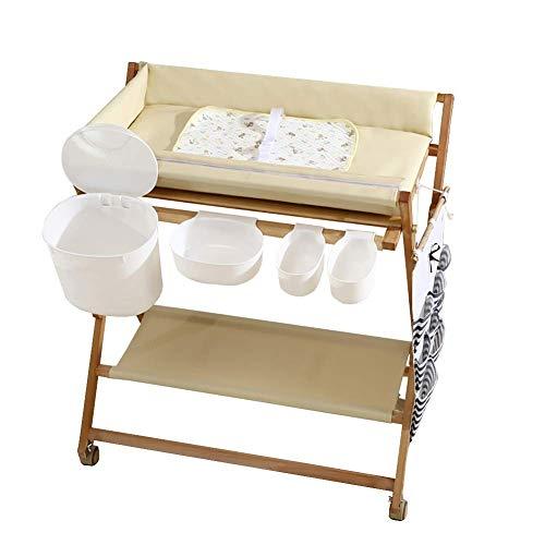BBNBY Baby veranderen tafel hout vouwen op wielen met opslag manden, draagbare luierstation PU leer voor zuigeling/pasgeborene (kleur: wit)