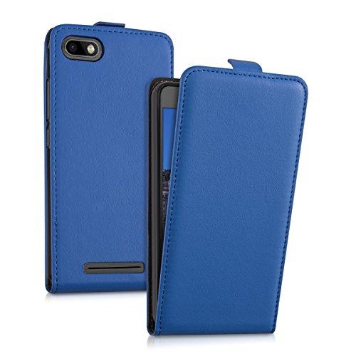 kwmobile Hülle kompatibel mit Wiko Lenny 3 - Handy Case Handyhülle - Flip Schutzhülle in Blau