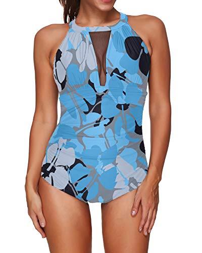 I2CRAZY Traje de baño de una pieza para mujer, de malla, cuello en V, monokini, traje de baño con control de abdomen - azul - XX-Large