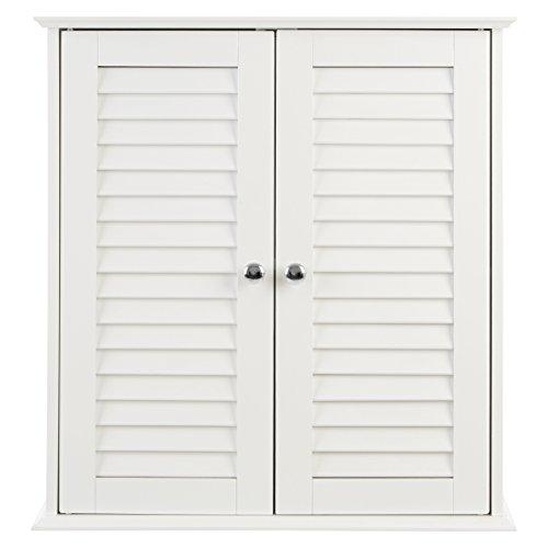 Premier Housewares Badezimmer-Hängeschrank mit Lamellen-Doppeltür, 55 x 52 x 22 cm, weiß, Holz, 55x52x22