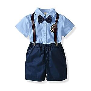 エルフ ベビー(Fairy Baby)子供フォーマルスーツ 男の子 半袖シャツ 半ズボン サスペンダー 蝶ネクタイ4点セット 結婚式 size 90 (ブルー+紺色)