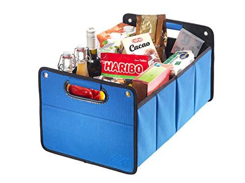 CB Presentabeling GmbH CBag - Robuuste kofferbaktas van polyester met stevige bodem - Praktische opvouwbare box voor de auto - Klapbox kofferbak Box Organizer Autobox Tas Auto kofferbak Accessoires mand personenauto blauw