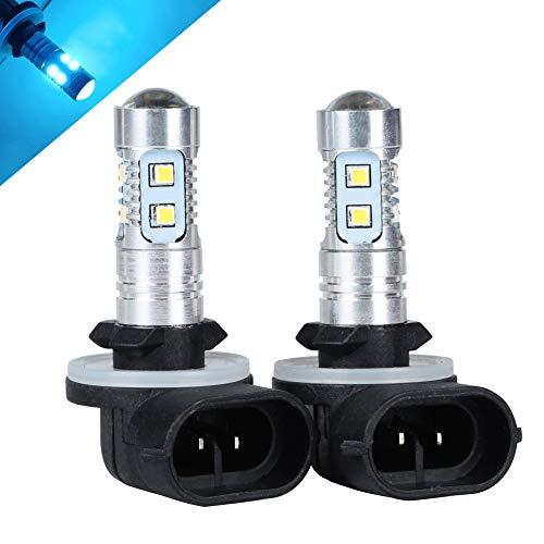 HOTSYSTEM 881 H27W/2 focos de luz LED extremadamente brillantes para conducción antiniebla DRL luces de circulación diurna (azul claro, paquete de 2)