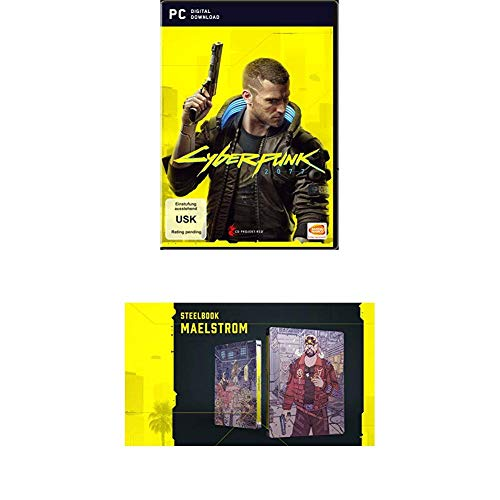 "CYBERPUNK 2077 - DAY 1 Edition - [PC] + Cyberpunk 2077 - Steelbook ""MAELSTROM"""