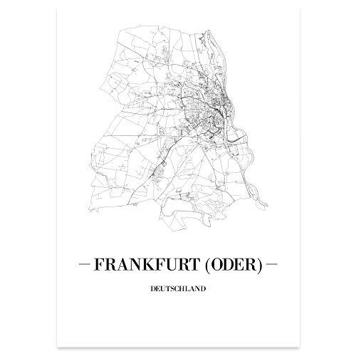JUNIWORDS Stadtposter - Wähle Deine Stadt - Frankfurt (Oder) - 21 x 30 cm Poster - Schrift A - Weiß