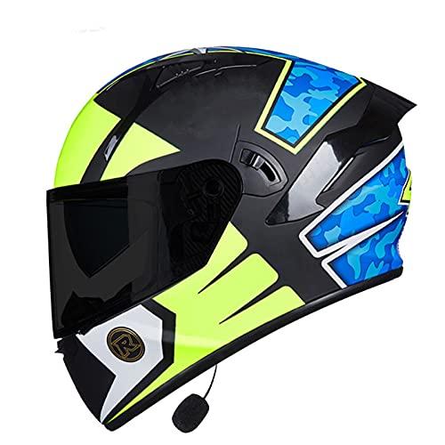 NBMNN Casco Bluetooth de Moto,Casco Integral Full Face Casco de Motocicleta con Bluetooth Desmontable Anti-vaho Hombres y Mujeres,Dot Homologado D,L=58~59CM