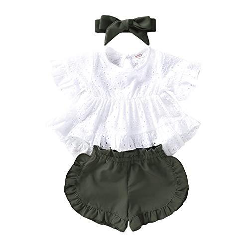 Janly Clearance Sale Conjunto de ropa de 0 a 3 años para niñas recién nacidas, camiseta de encaje con volantes sólidos, bonito regalo de Pascua, juego de ropa de bebé para 3 a 6 meses (verde)