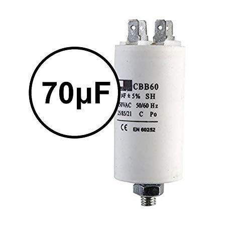 UTP 70µF Starterkondensator/Anlaufkondensator, Kompressor, Klimaanlage; Wasser-/Luftpumpe, 70μF (Microfarad), CBB60