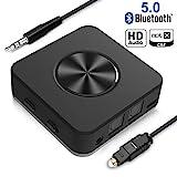 Yuanguo Bluetooth Adapter Audio Bluetooth Empfänger und Transmitter für Auto und Zuhause, Bluetooth 5.0 mit Digital Optischem Toslink und 3.5mm Aux, apt-X HD/LL, Zwei Verbindung für TV PC