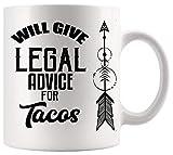 Taza de abogado Taza de abogado de ley Dará asesoramiento legal Tacos Abogado de alimentos Póster de la oficina de abogado Tazas blancas Tazas