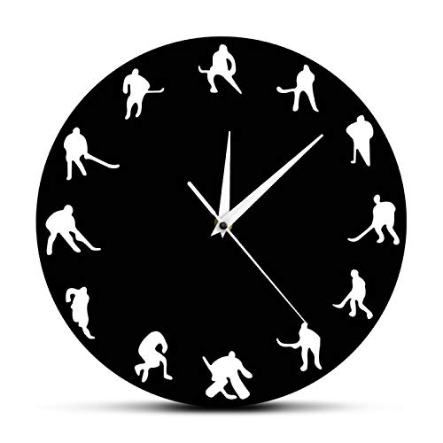 yage Hockey Diseño Minimalista Reloj de Pared Hockey sobre Hielo Hockey sobre césped Sala de Deportes Decoración de Pared Juego de Equipo Jugadores de Hockey Reloj de Pared Moderno