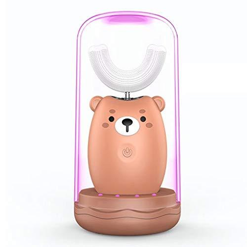FOOX Automatische Zahnbürste Kinder Elektrozahnbürsten, U-geformte elektrische Zahnbürste, Sonic Elektrische Zahnbürste for 2-6 Jahre Kinder (Color : Brown, Size : 2-6 Years Old)