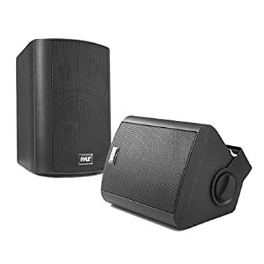 Pyle PDWR52BTBK Wall Mount Waterproof & Bluetooth Speakers, 5.25'' Indoor/Outdoor Speaker System (Black)