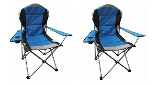 Hyfive Folding Camping Chair Heavy Duty Luxury Padded High Back Camping Fishing - Blue - 2 Chairs
