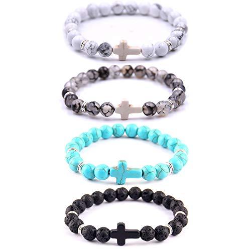 Softones 4PCS Cross Beads Bracelet for Men Women 8mm Healing Lava Stone Stretch Bracelets,7.5'