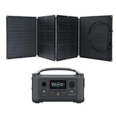 EF ECOFLOW Portable Power Station River 600 288Wh with 110W Solar Panel, 3 600W (Peak 1800W) AC Outlets, Solar Generator for Outdoors Camping RV Hunting Emergency