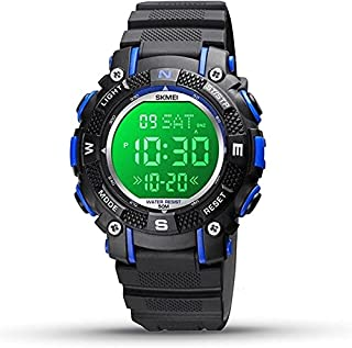 SKMEI Baby Boys Girls Black with Blue Waterproof Day and Date Display Stopwatch Elastic Rubber Band Alarm Clock