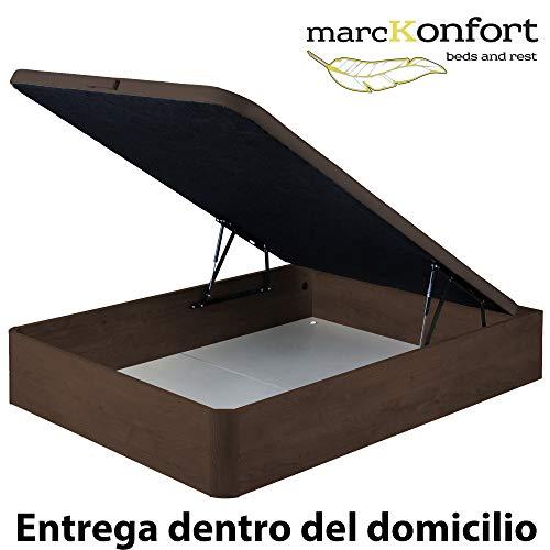 marckonfort Canapé abatible 90X190 de Gran Capacidad con Esquinas Redondeadas en Madera, Base tapizada 3D Transpirable Color Cerezo Oscuro