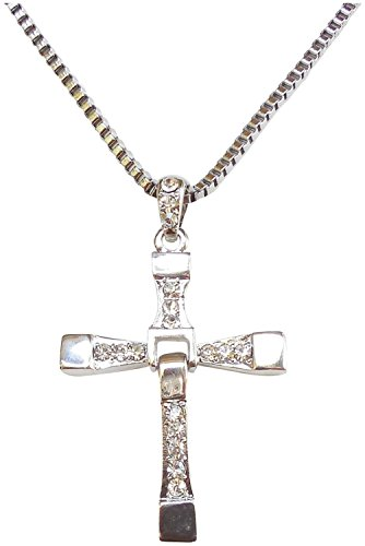 Fast Five Inspired Dominic Torreto Style Silver Tone Cross Necklace - Vin Diesel Cross
